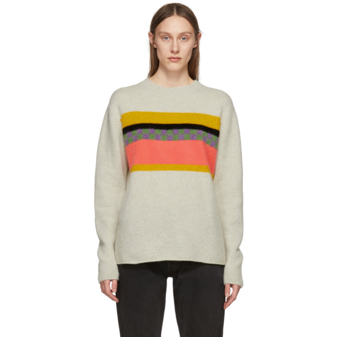 Photo: The Elder Statesman Beige Cashmere Gofa Stripe Sweater