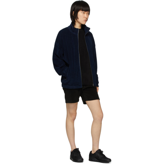 032c Black Terry Logo Embroidery Shorts