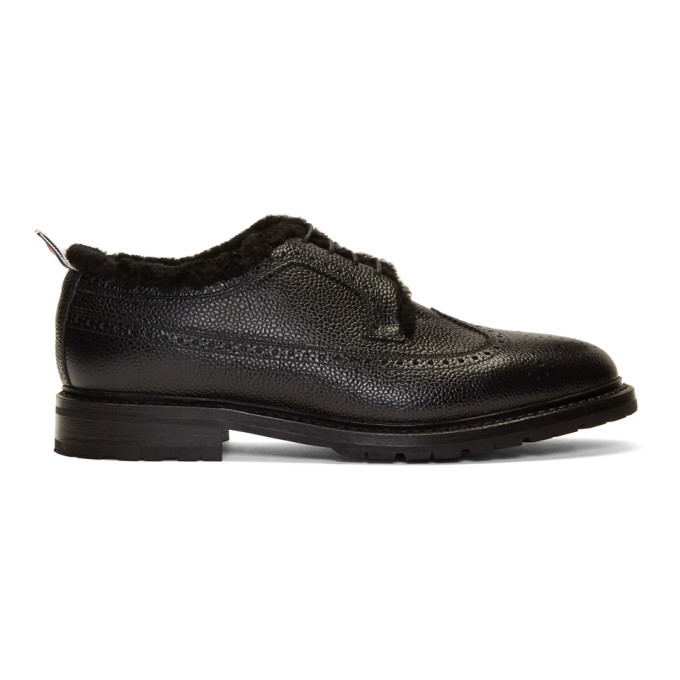 Photo: Thom Browne Black Shearling Classic Longwing Brogues