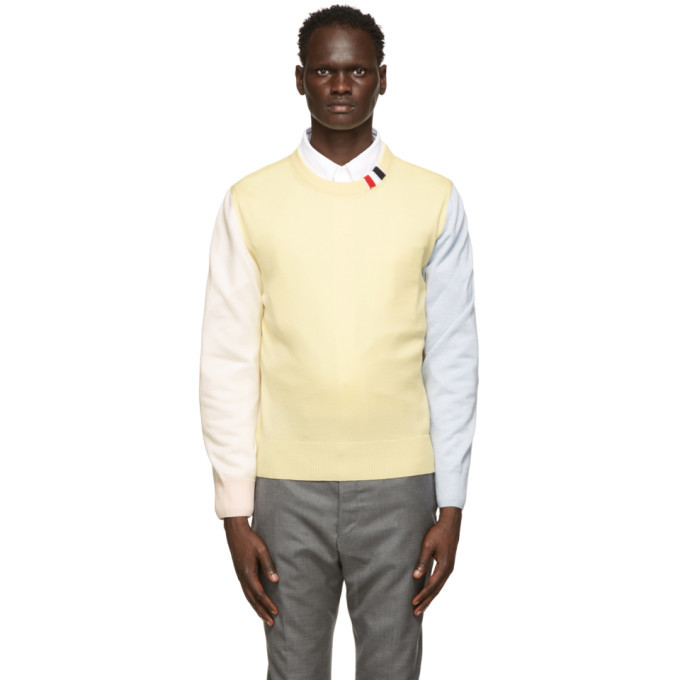 Photo: Thom Browne Multicolor Merino RWB Tab Relaxed-Fit Sweater