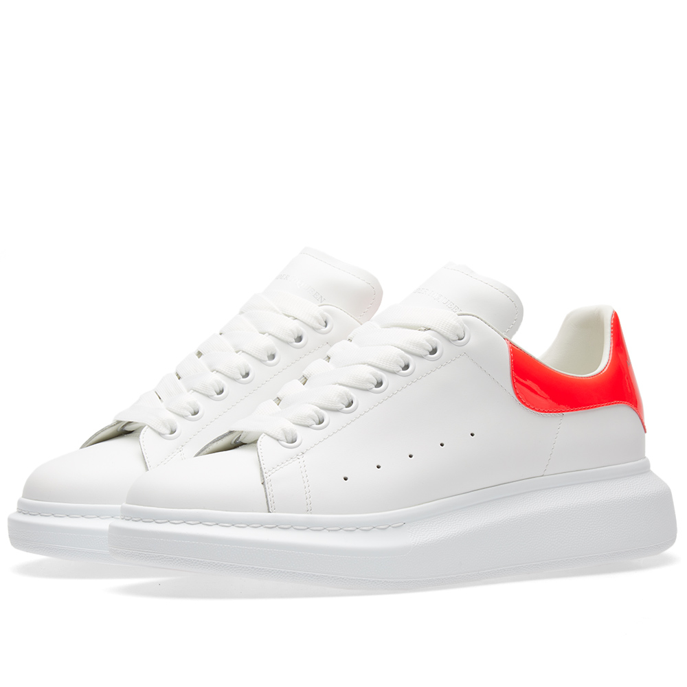 Photo: Alexander McQueen Wedge Sole Fluro Heel Tab Sneaker White