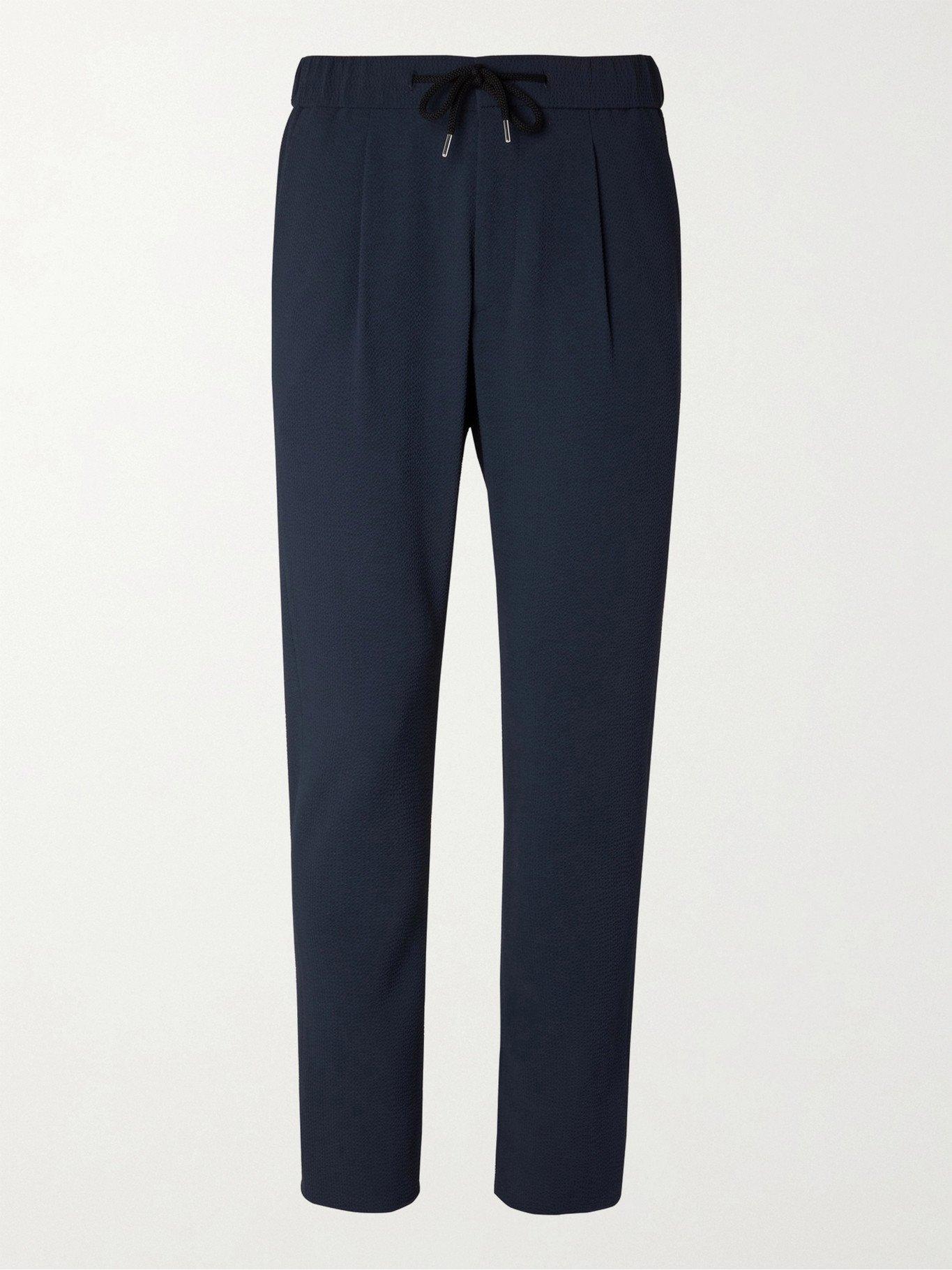 GIORGIO ARMANI - Tapered Stretch-Virgin Wool Seersucker Drawstring Trousers - Blue