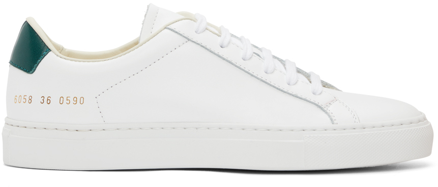 Photo: Common Projects White & Green Retro Low Sneakers