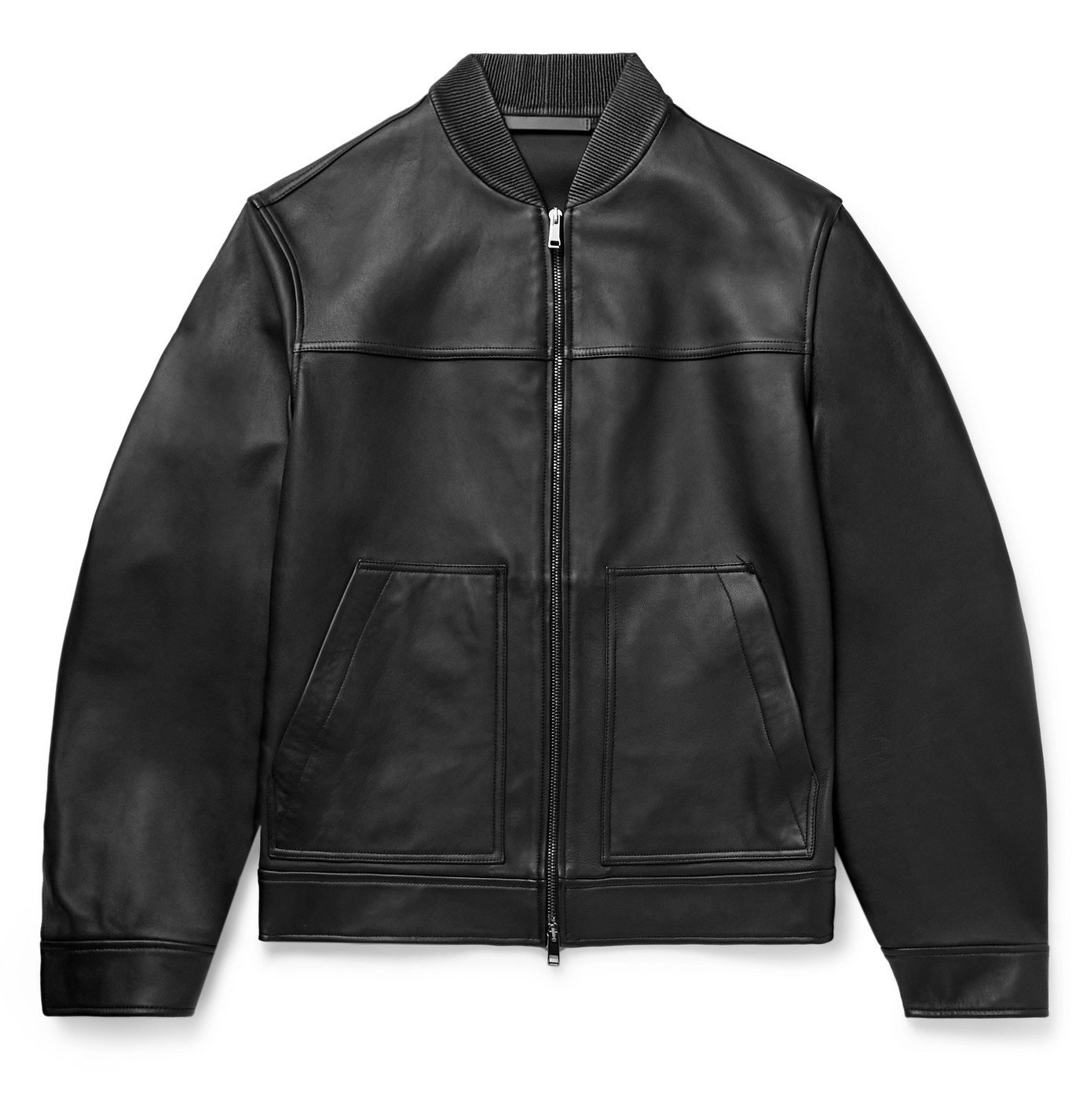 Photo: Theory - Fletcher Leather Bomber Jacket - Black