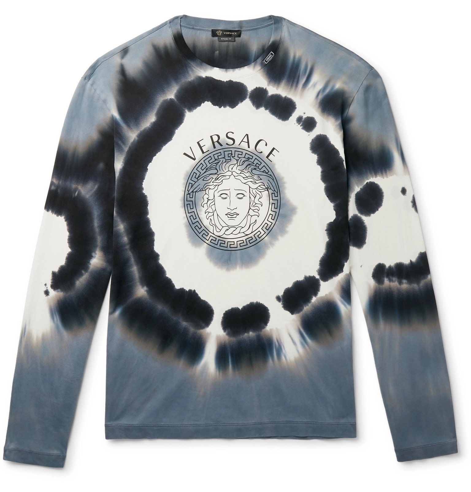 Photo: Versace - Logo-Print Tie-Dyed Cotton-Jersey T-Shirt - Gray