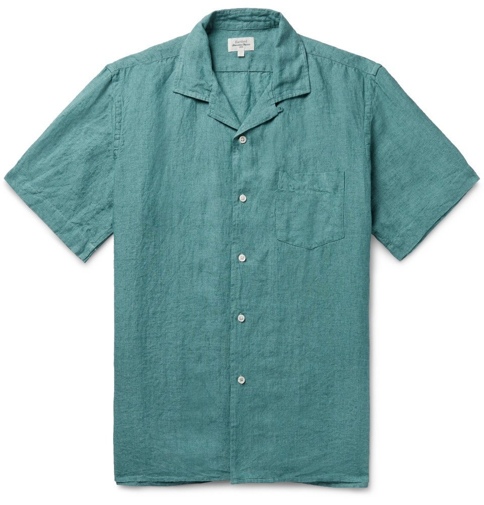 Photo: Hartford - Palm Camp-Collar Linen Shirt - Petrol