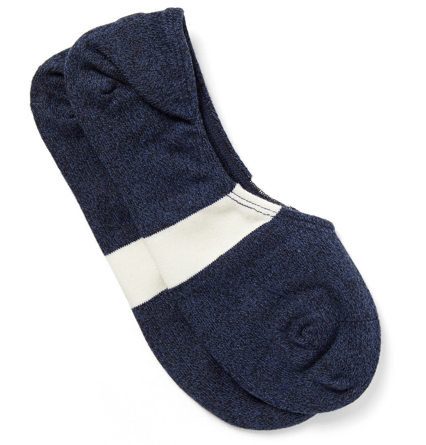 Photo: N/A - Striped Stretch Cotton-Blend No-Show Socks - Blue