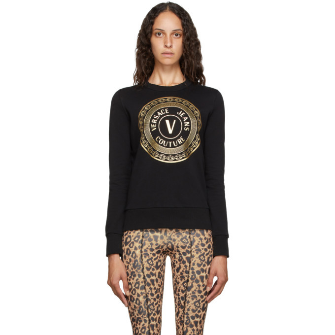 Photo: Versace Jeans Couture Black V-Emblem Logo Sweatshirt