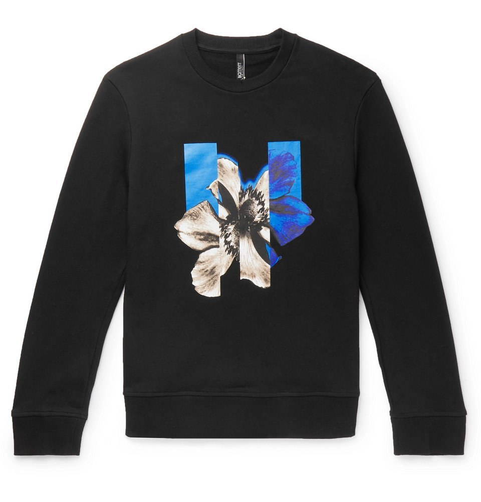 Photo: Neil Barrett - Printed Loopback Cotton-Jersey Sweatshirt - Black