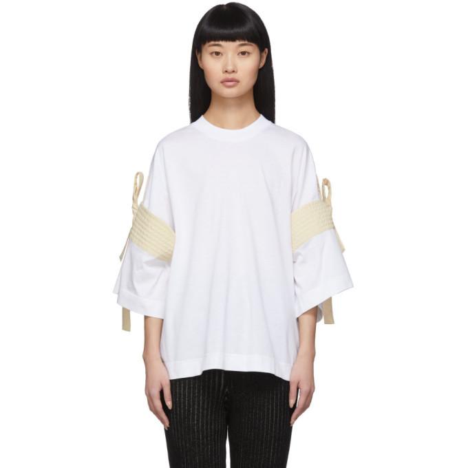 Photo: Moncler Genius 2 Moncler 1952 White Shoulder Tie T-Shirt