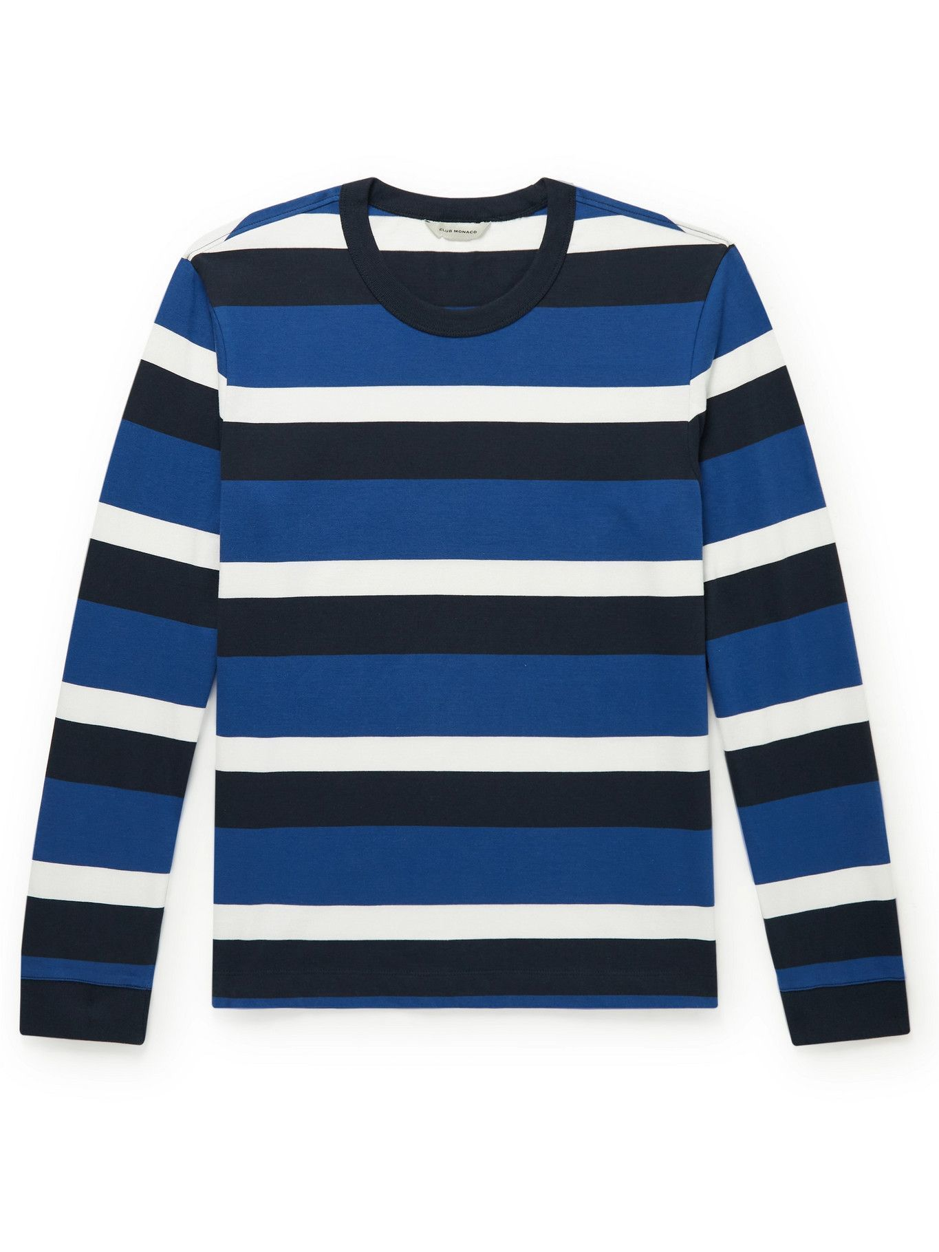 Photo: Club Monaco - Striped Cotton-Jersey T-Shirt - Blue