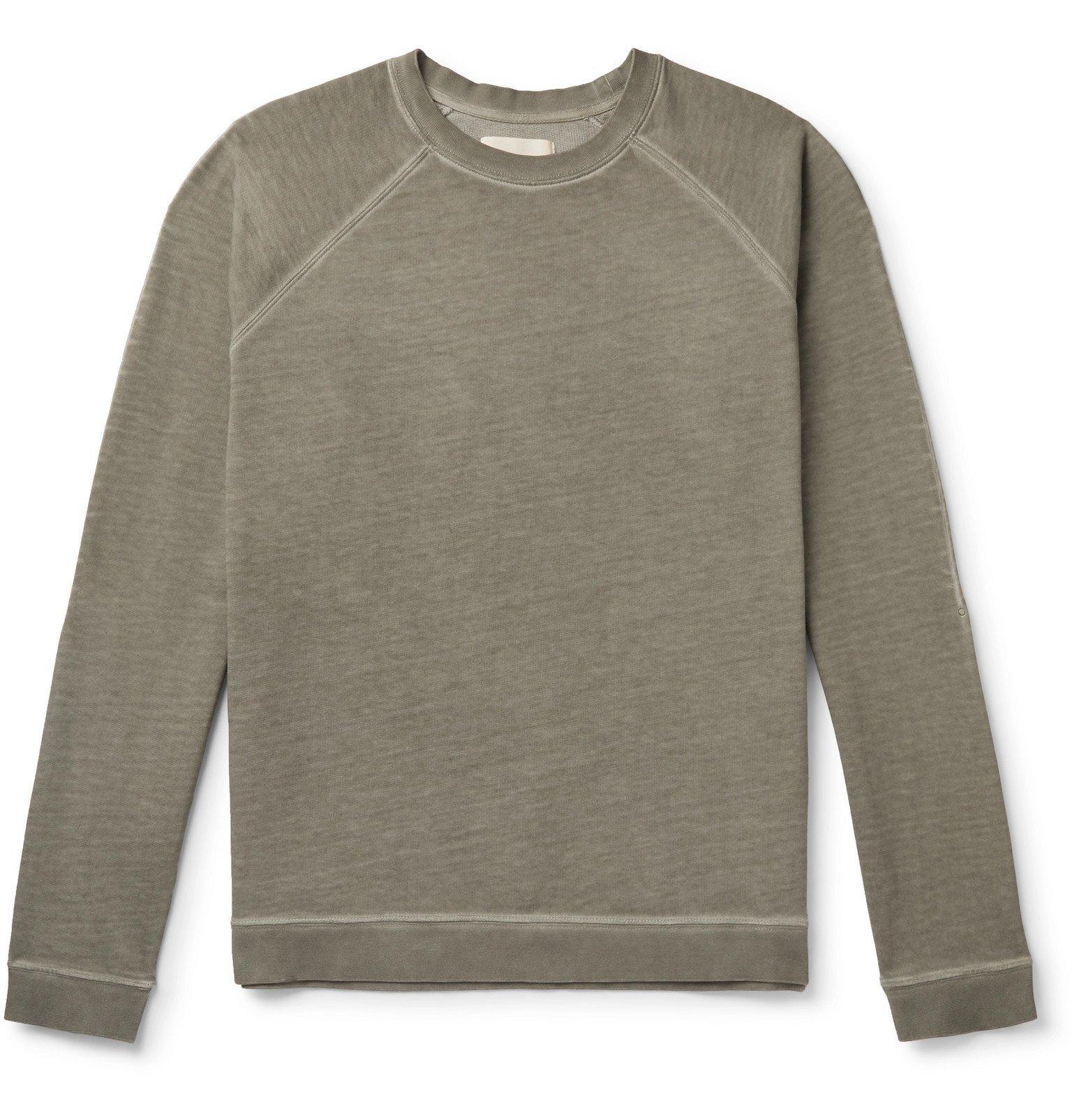 Photo: Folk - Rivet Garment-Dyed Loopback Organic Cotton-Jersey Sweatshirt - Green