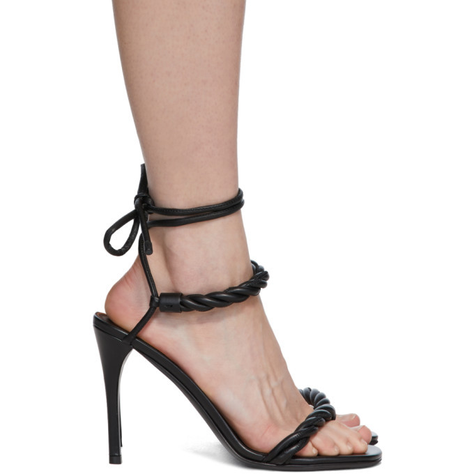 Photo: Valentino Black Valentino Garavani The Rope Heeled Sandals