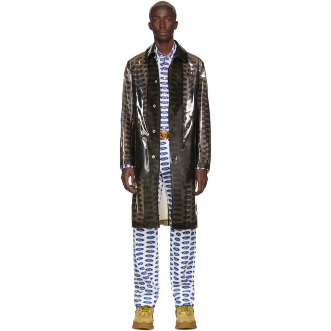 Versace Transparent Black PVC Trench Coat