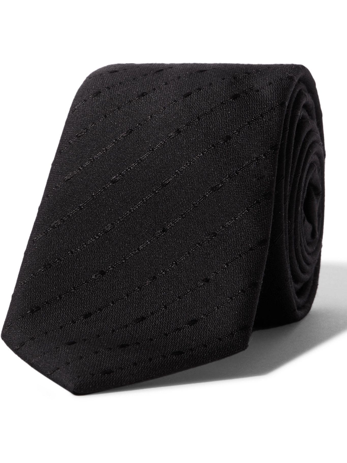 Photo: SAINT LAURENT - 6cm Fil Coupé Silk and Wool-Blend Tie