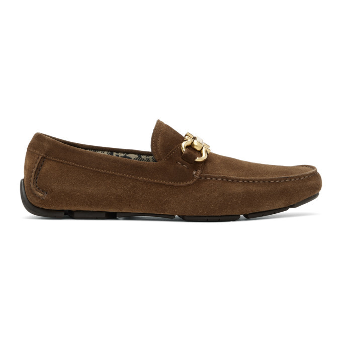 Photo: Salvatore Ferragamo Brown Parigi Driver Loafers
