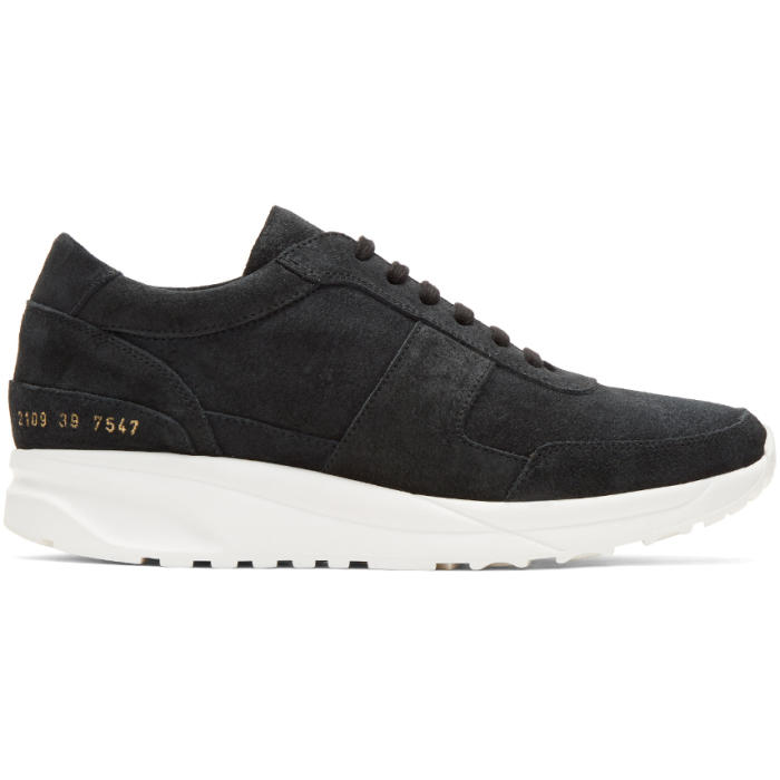 Common Projects Black Waxed Suede Track Sneakers