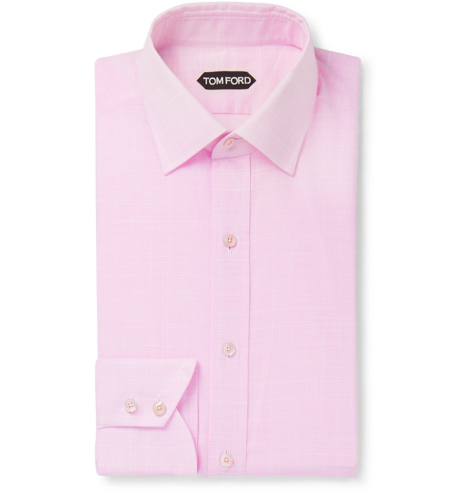 Photo: TOM FORD - Pink Slim-Fit Prince of Wales Checked Cotton Shirt - Pink