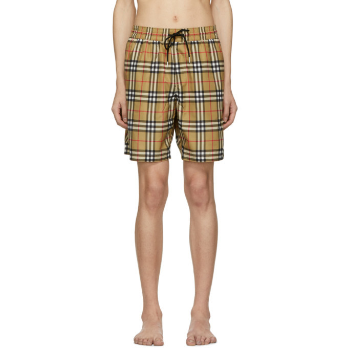 Photo: Burberry Yellow Vintage Check Swim Shorts