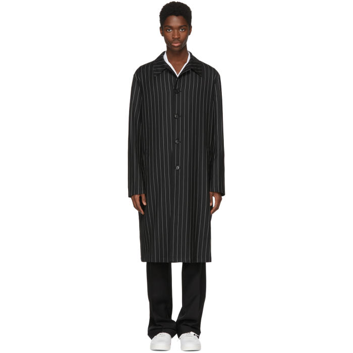 Photo: Versace Black and White Pinstripe Coat
