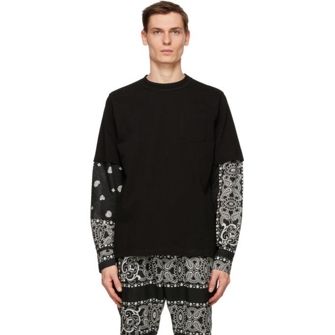 Sacai Black Mix Print Archive Long Sleeve T-Shirt