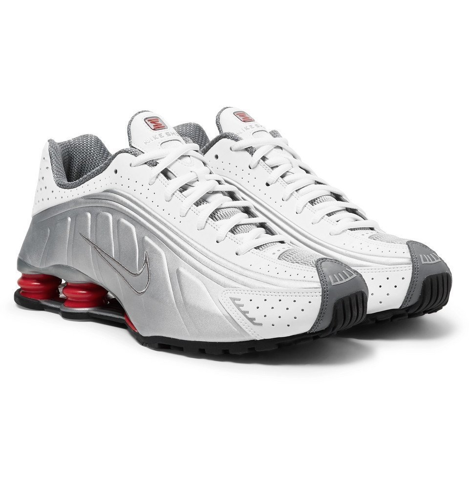 d24ef62ff00 Nike - Shox R4 Leather and Mesh Sneakers - Men - White Nike