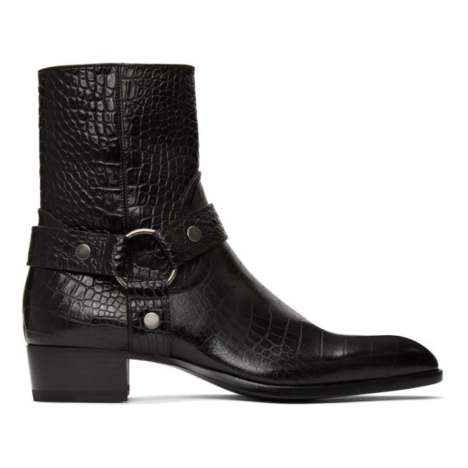Photo: Saint Laurent Black Croc Wyatt Harness Boots