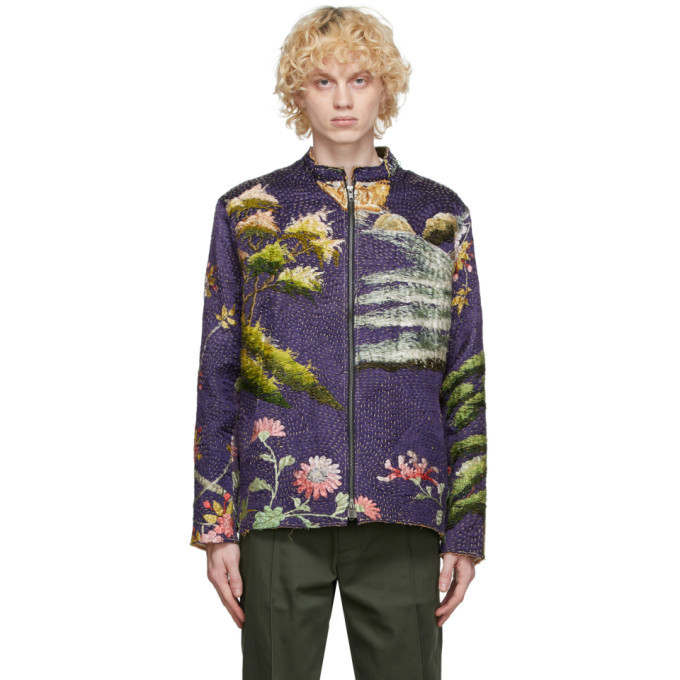 Photo: By Walid SSENSE Exclusive Purple Chinese Embroidery Classic Jacket
