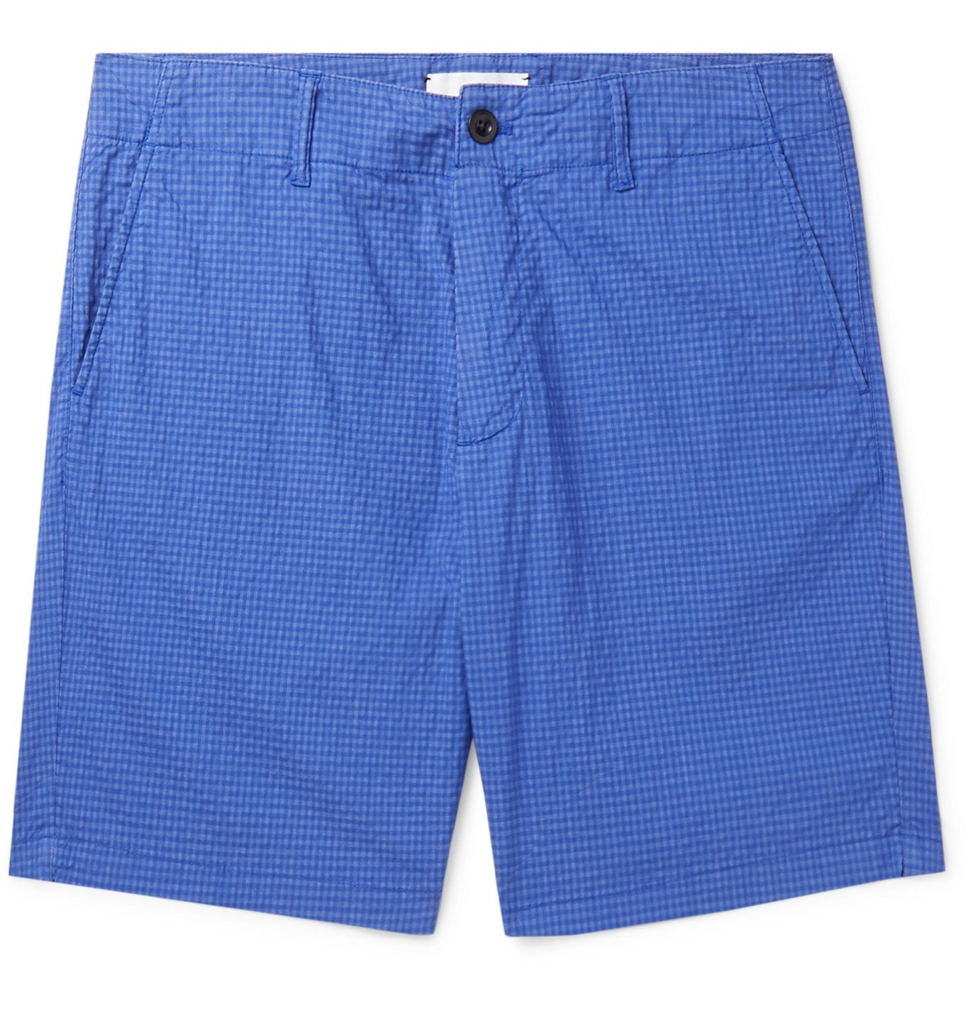 Photo: Mr P. - Garment-Dyed Cotton-Blend Seersucker Shorts - Blue