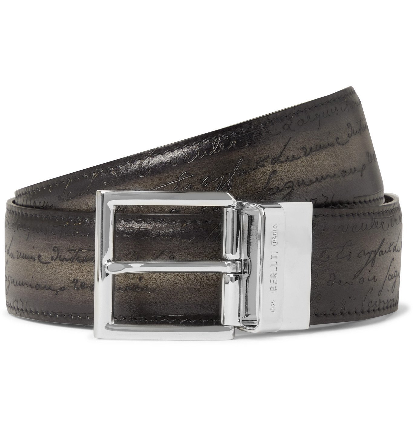 Photo: Berluti - 3.5cm Scritto Reversible Venezia Leather Belt - Gray