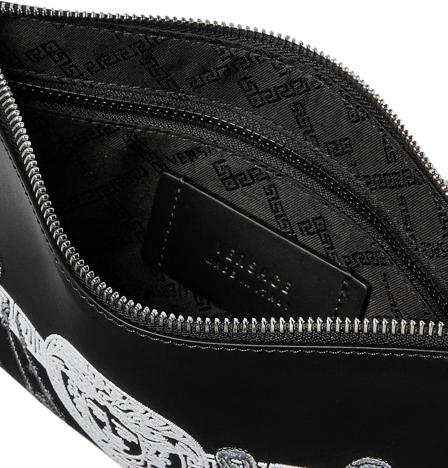 Versace - Logo-Embroidered Leather Pouch - Black