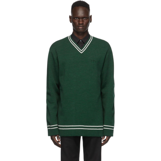 Photo: Maison Margiela Green Gauge 12 V-Neck Sweater