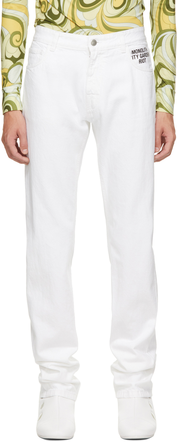 Photo: Raf Simons White Denim Picture Patch Jeans
