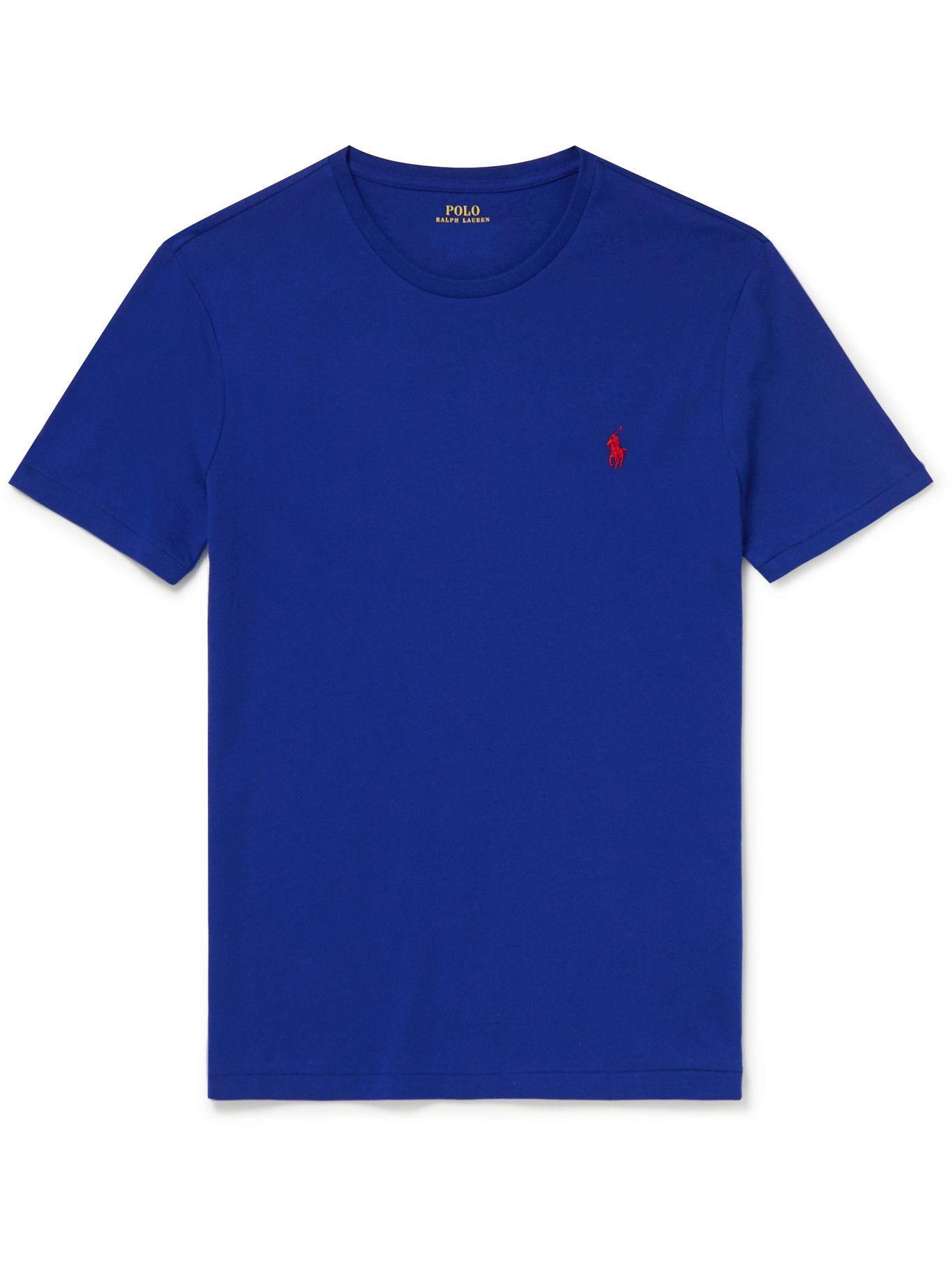 Photo: POLO RALPH LAUREN - Slim-Fit Cotton-Jersey T-Shirt - Blue