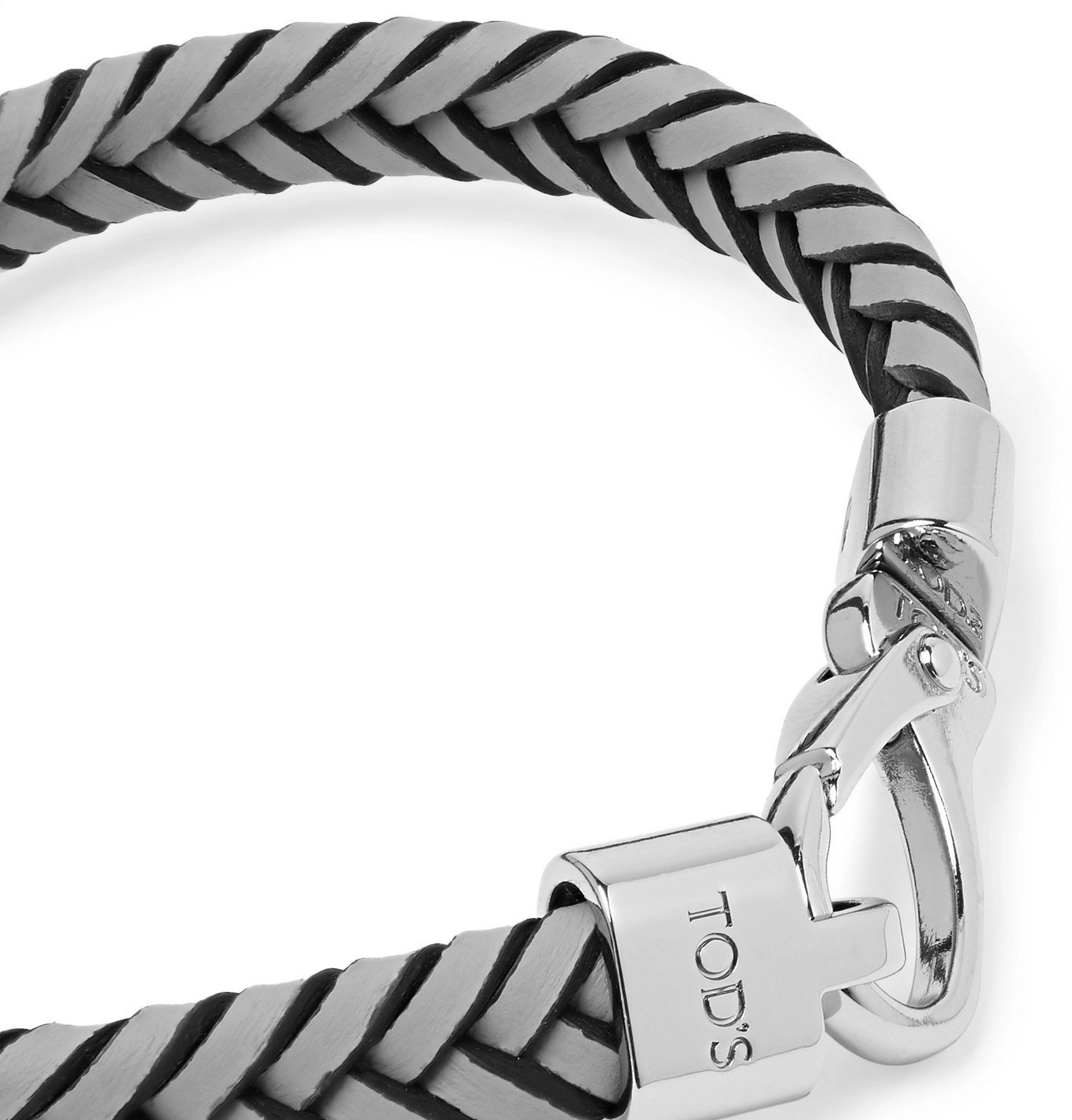 Tod's - Woven Leather and Silver-Tone Bracelet - Gray