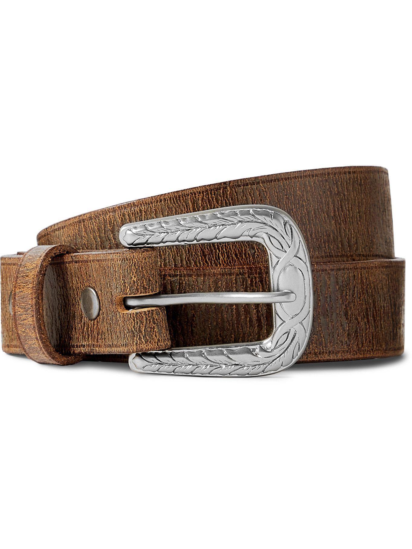 Photo: RRL - 2.5cm Distressed Leather Belt - Brown