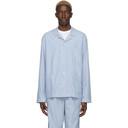 Sunspel Blue and White Striped Pyjama Shirt