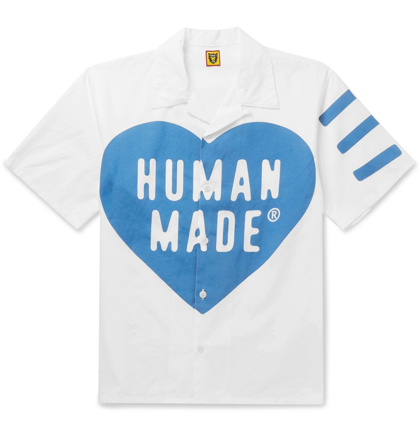 Photo: Human Made - Camp-Collar Logo-Print Cotton-Poplin Shirt - Blue
