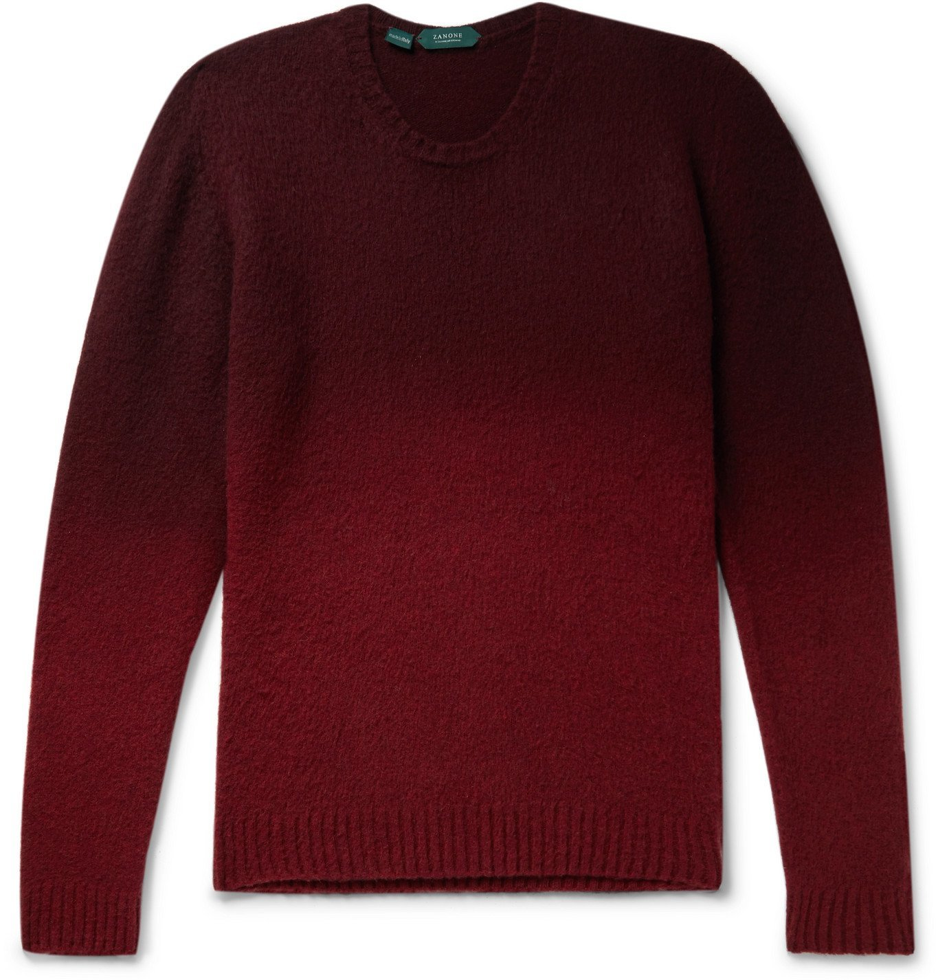 Photo: Incotex - Slim-Fit Dégradé Brushed Virgin Wool Sweater - Red