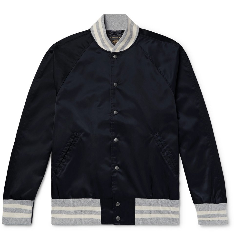 Photo: Todd Snyder Champion - Golden Bear Nylon Bomber Jacket - Midnight blue