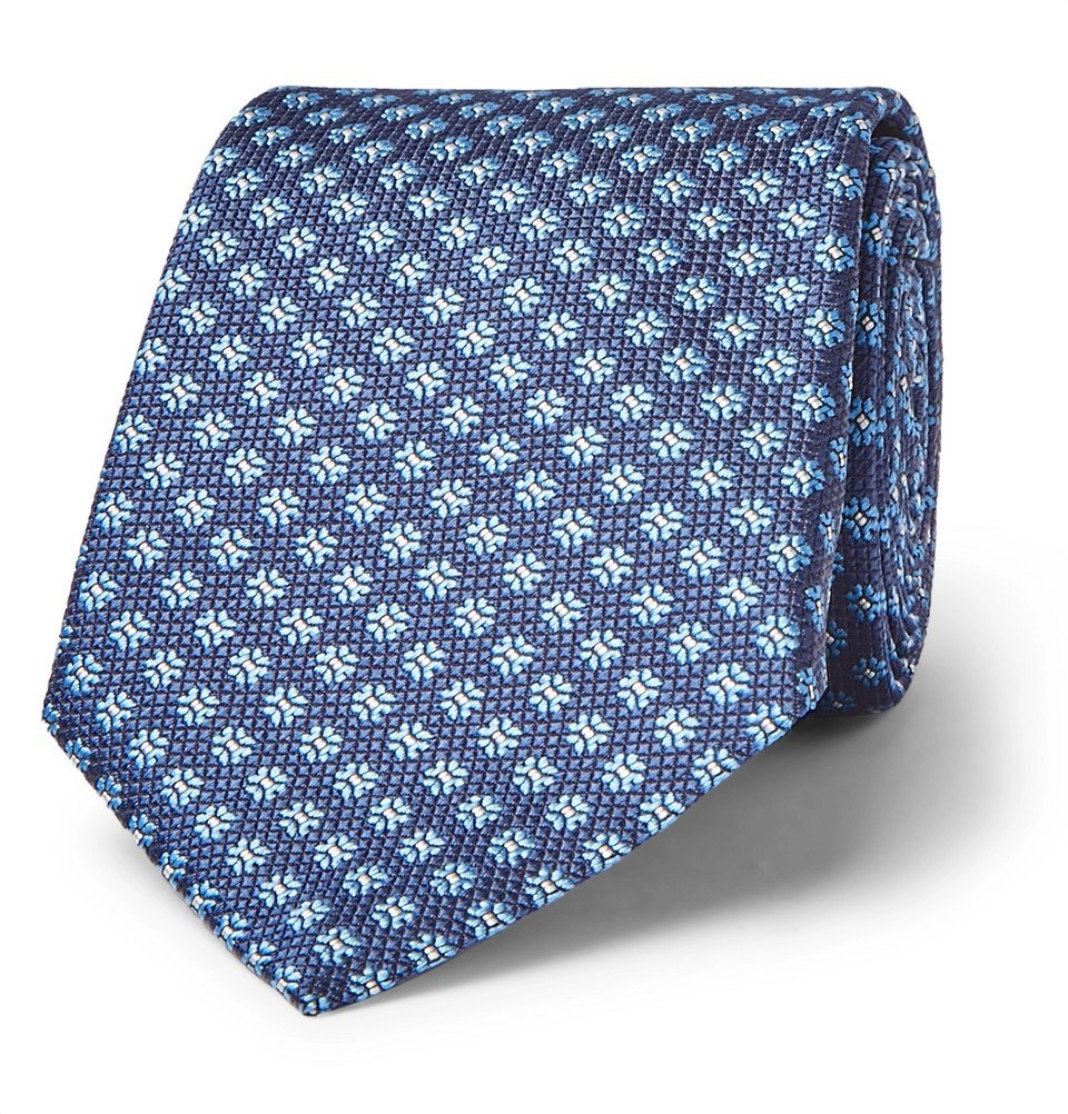 Photo: Canali - 8cm Floral Silk-Jacquard Tie - Blue