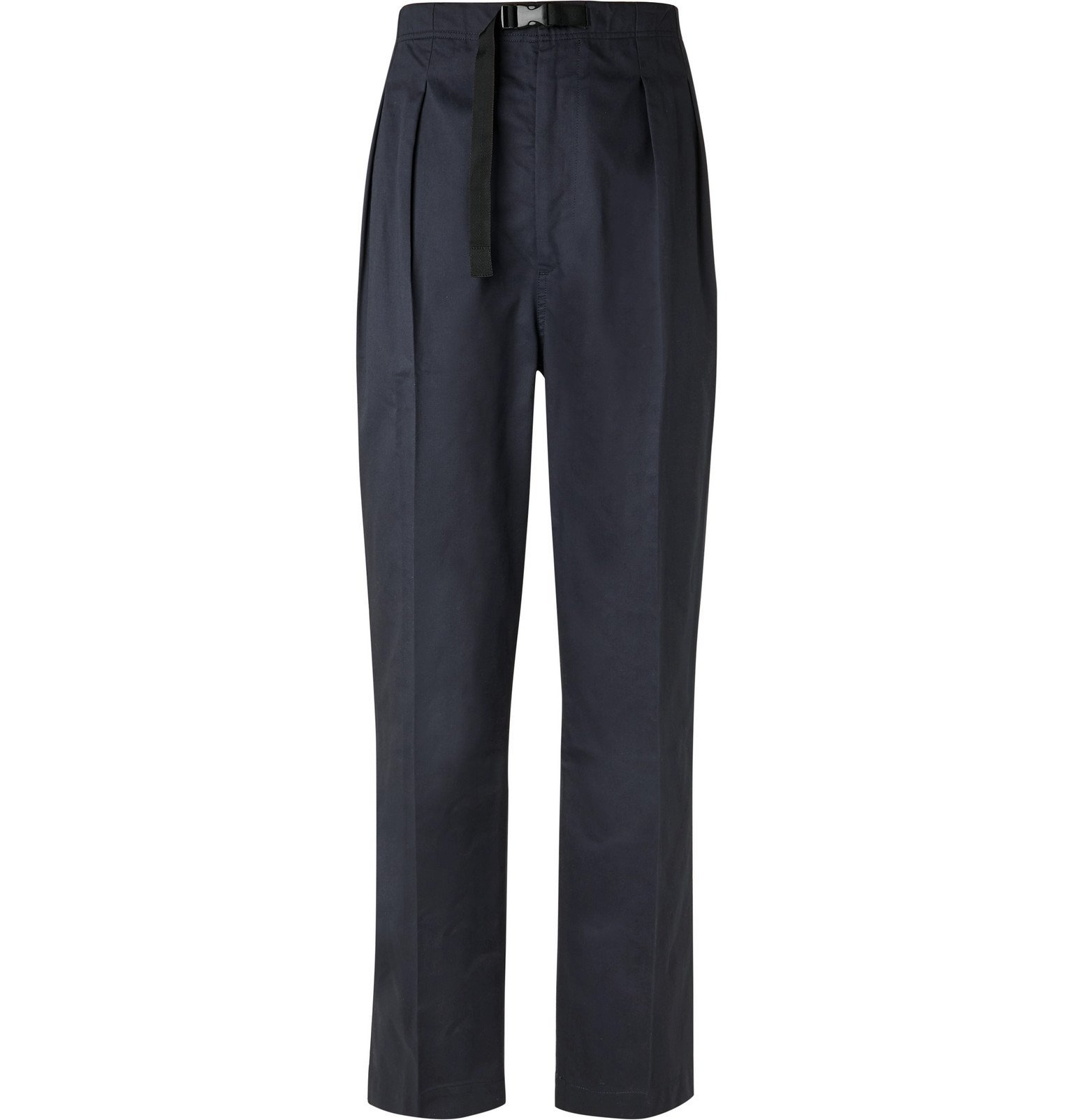 Photo: Chimala - Tapered Belted Pleated Cotton-Poplin Trousers - Blue