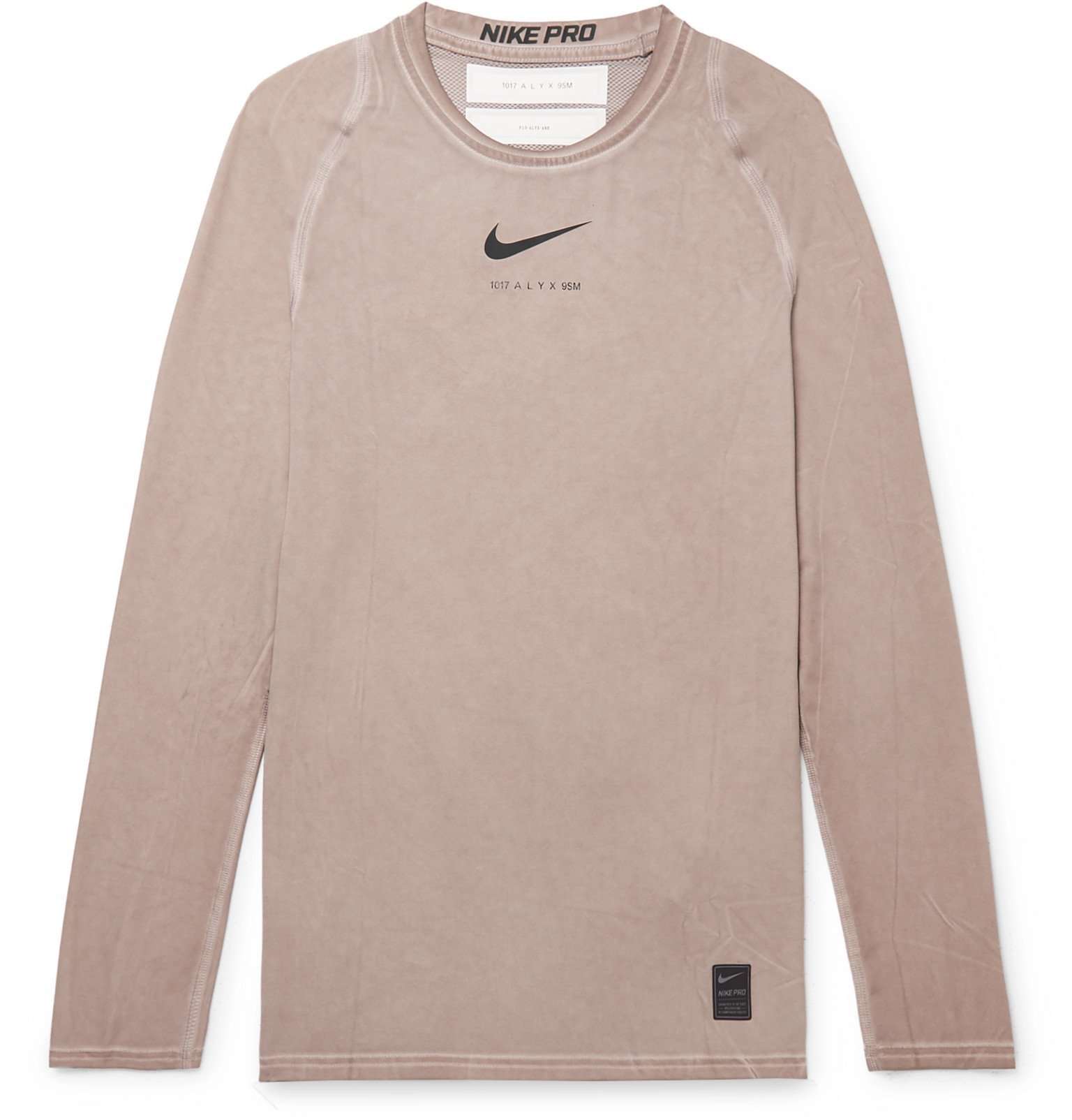 1017 ALYX 9SM - Nike Compression Mesh-Panelled Stretch-Jersey T-Shirt - Brown