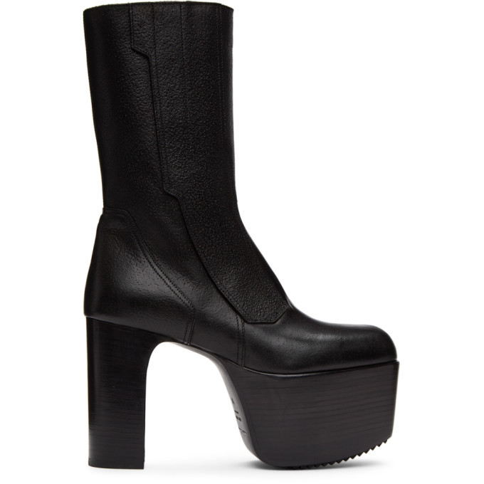 Photo: Rick Owens Black Motocross Kiss 65 Chelsea Boots