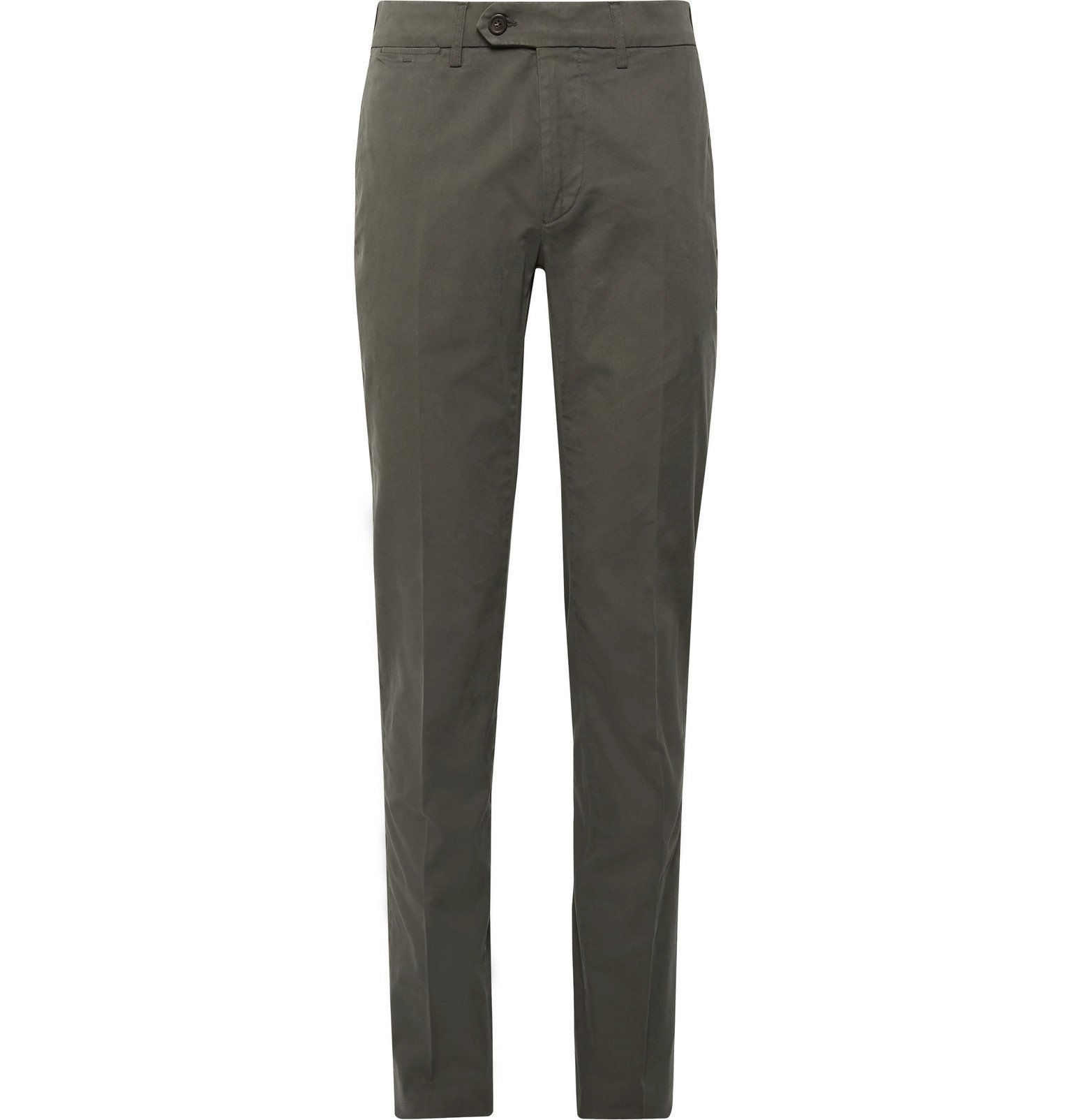 Photo: Canali - Beige Slim-Fit Stretch-Cotton Twill Chinos - Green