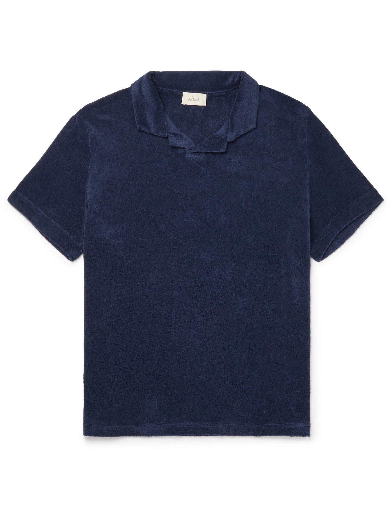 Photo: ALTEA - Dennis Cotton-Blend Terry Polo Shirt - Blue