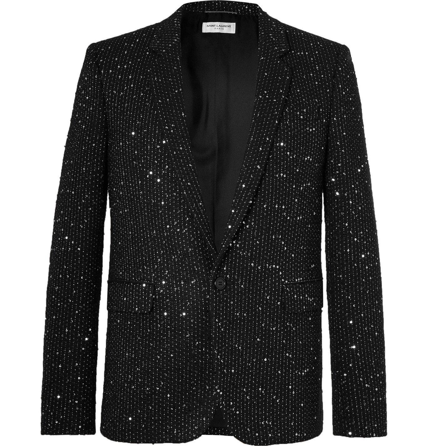 Photo: SAINT LAURENT - Slim-Fit Sequin-Embellished Woven Blazer - Black