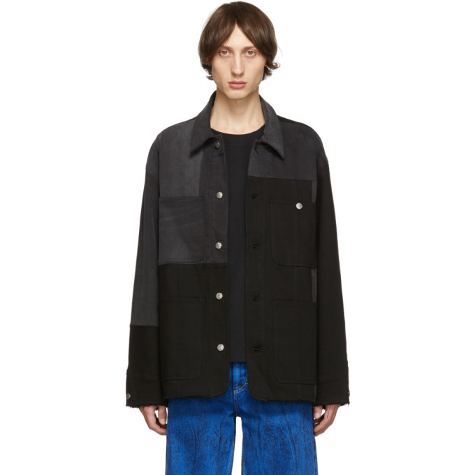 Photo: Acne Studios Black and Grey Bla Konst Mathers Recrafted Jacket