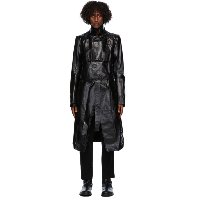 Photo: Ann Demeulemeester Black Leather Trench Coat