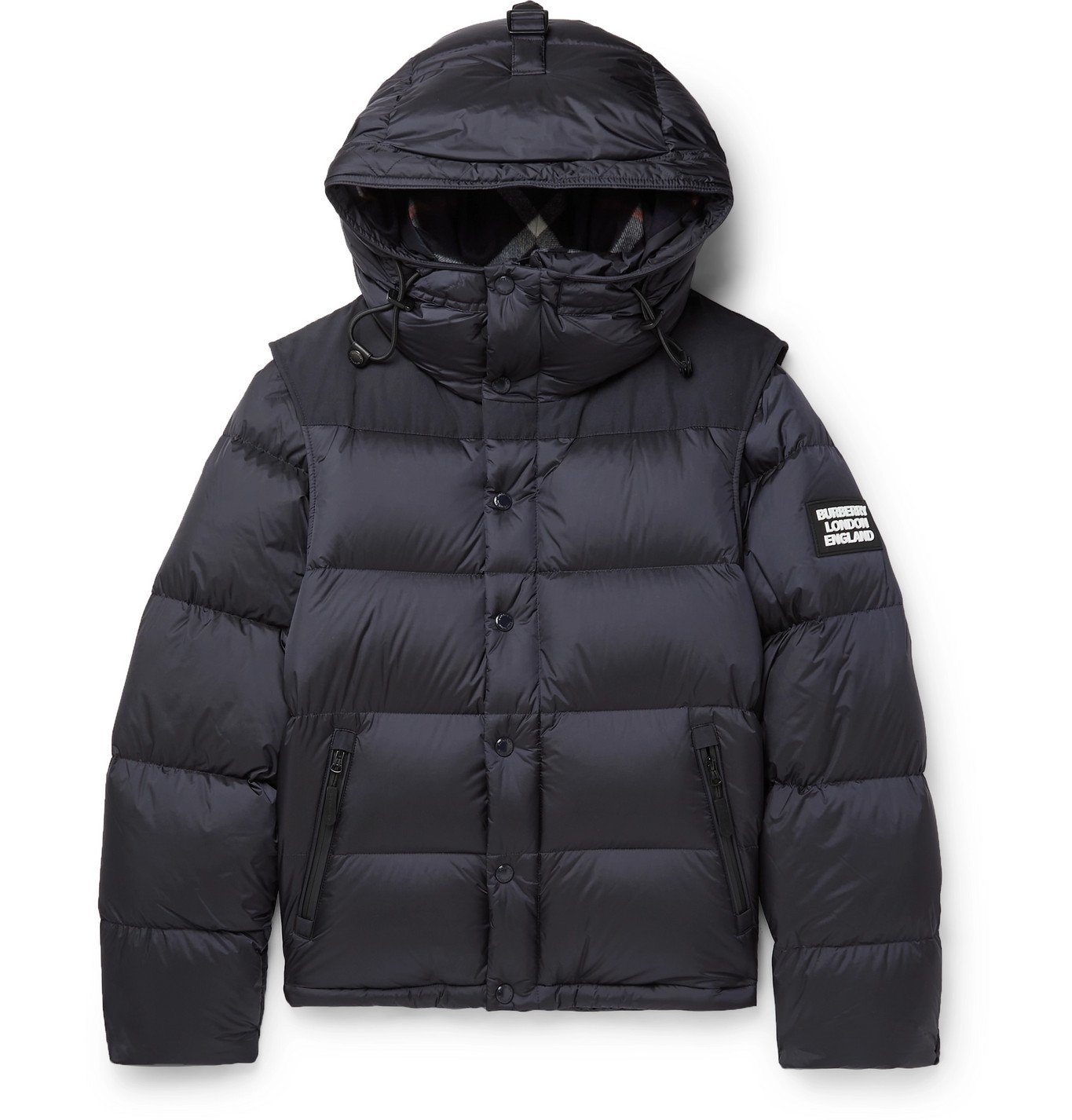 Photo: Burberry - Quilted Nylon Down Hooded Jacket with Detachable Sleeves - Blue